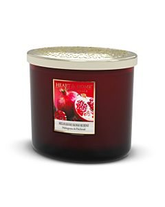 CANDELA TWIN ELLIPSE IN CERA DI SOJA 230GR. HEART &HOME  MELOGRANO