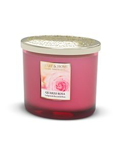 CANDELA TWIN ELLIPSE IN CERA DI SOJA 230GR. HEART &HOME QUARZO ROSA